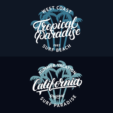 Set of California and Tropical Paradise hand written lettering with palms. Apparel design for tee print. Vintage style. Vector illustration.