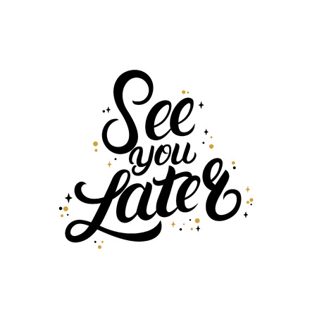 Illustration pour See you later hand written lettering with stars. - image libre de droit