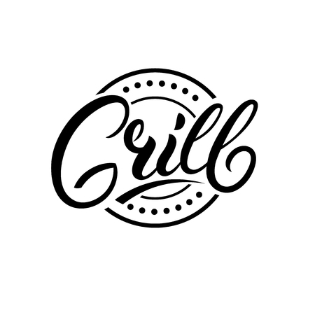 Grill hand written lettering text vector illustration