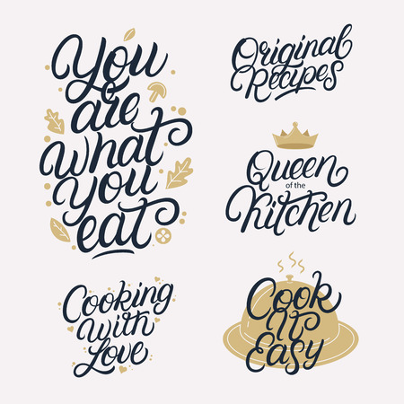 Kitchen related lettering calligraphy set. Quotes and