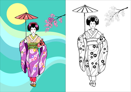 Japanese girl, geisha with umbrella on a background of the Sun and branches of sakura
