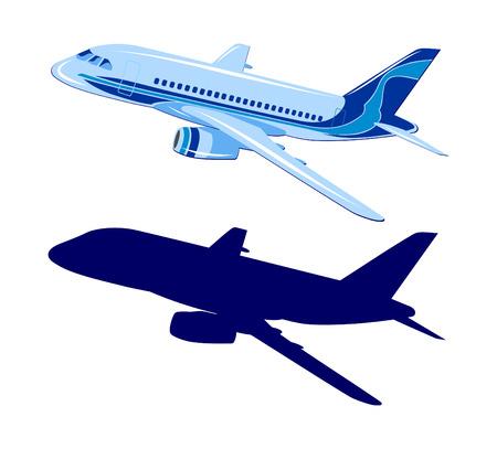 Ilustración de Passenger aircraft, vector, plane on white background - Imagen libre de derechos
