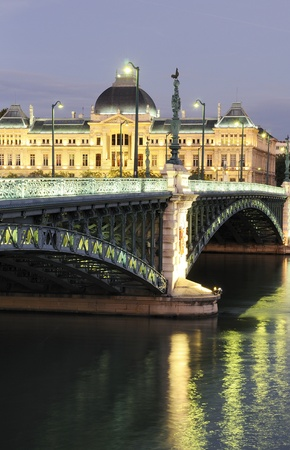 Bridge and University of Lyon by night