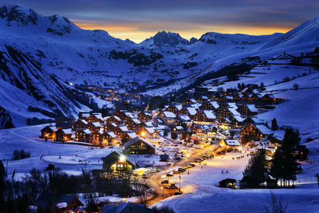 Evening landscape and ski resort in French Alps,Saint jean d'Arves, Franceの写真素材
