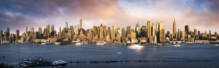 Lower Manhattan skyline. Giant panoramic view USA