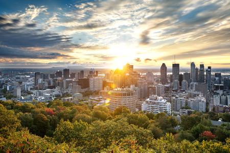 Photo pour Montreal skyline early in the morning from Mont Royal park, Canada - image libre de droit