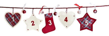 1 - 5, part of Advent calendar isolated on white background