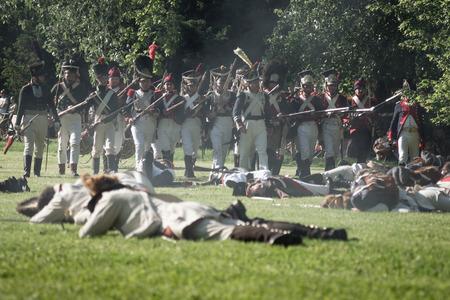 BRATISLAVA, SLOVAKIA - MAY 21: Reenactment of the Siege of Pressburg by Napoleon in 1809 at Bratislava, Slovakia on May 21, 2016