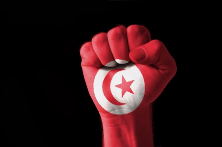 Low key picture of a fist painted in colors of tunisia flag