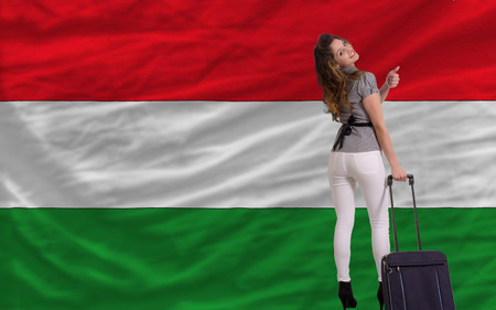 young beautiful woman is traveling to hungary