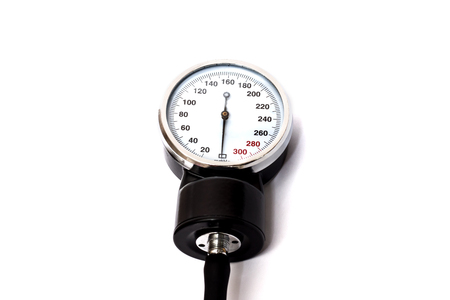 Black manometer on a white background, isolated, Medical equipment and health