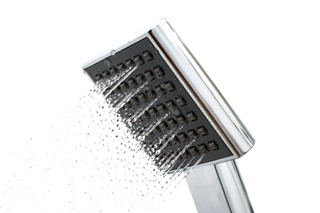 Photo for Shower head with water drops on a white background, isolated - Royalty Free Image