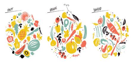 Ilustración de Set of food frames: sea food, vegetables and fruits. Healthy lifestyle eating. Farmers market. Blue, red and yellow - Imagen libre de derechos