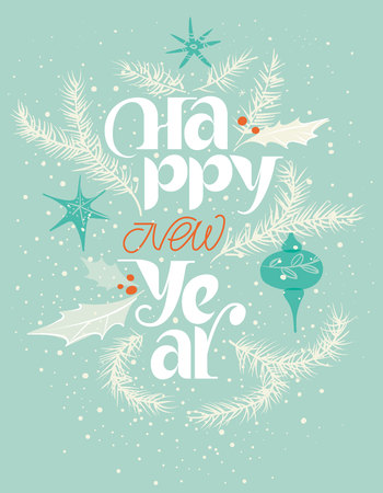 Illustration pour Happy new year card in blue and red. Gentle snowing - image libre de droit