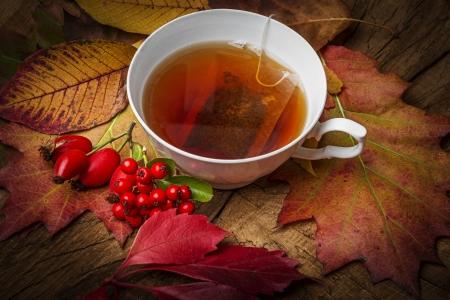 an autumn still life with a cup of tea