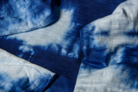 Photo for home made cotton fabric batiked with indigo - close up - Royalty Free Image