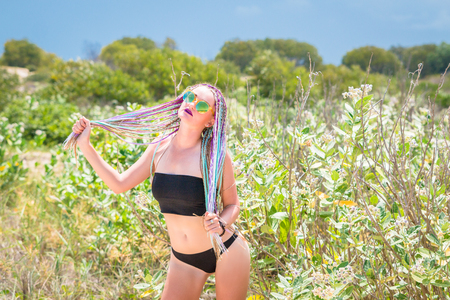 Foto per sexy girl in a swimsuit with pigtails. - Immagine Royalty Free