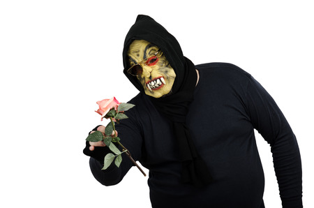 Monster never sees a rose before
