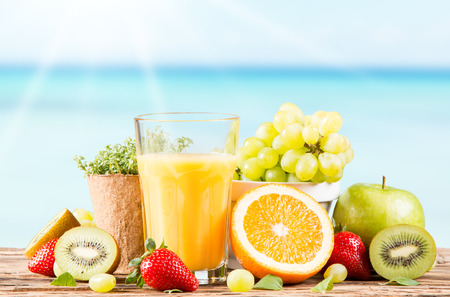 Photo for Fresh juice, fruits and vegetables on table - Royalty Free Image