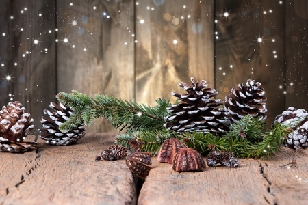 Christmas decoration on dark wooden background