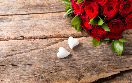 Photo for Roses red and Hearts - Royalty Free Image