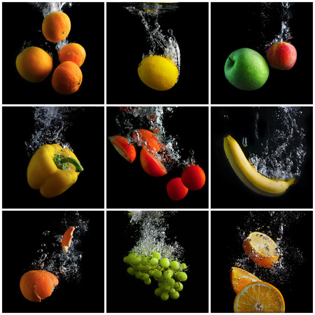 Photo for Fruits and vegetables falling into the water with splashes and bubbles. A set of photos. Concept of clean food. Promotion of healthy eating. - Royalty Free Image