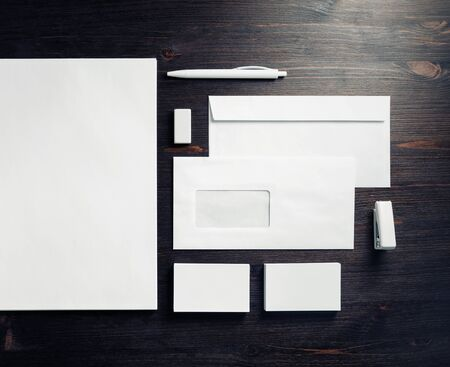Photo pour Blank stationery template for placing your design. Mockup for branding identity. Top view. Flat lay. - image libre de droit