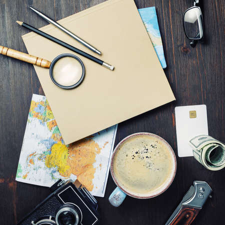 Photo pour Planning vacation trip. Travel or vacation concept. Accessories for travel. Top view. Flat lay. - image libre de droit