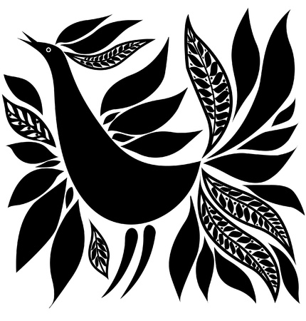 black bird silhouette folk ornament   sketch