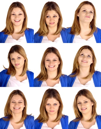 young woman doing facial expressions