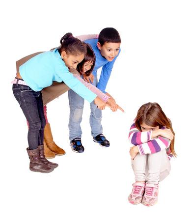 little kids bullying girl isolated in white