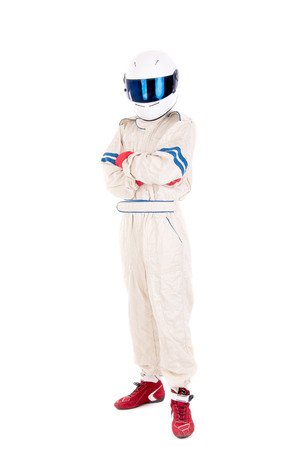 Photo pour race car driver isolated in white background - image libre de droit