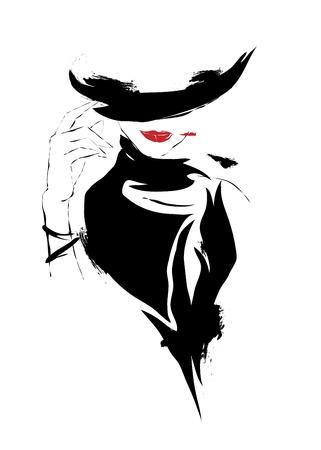 Modern girl, sketch, red lips, white background, hat