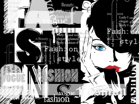 Vintage fashion background. Letters, words and stylish girl