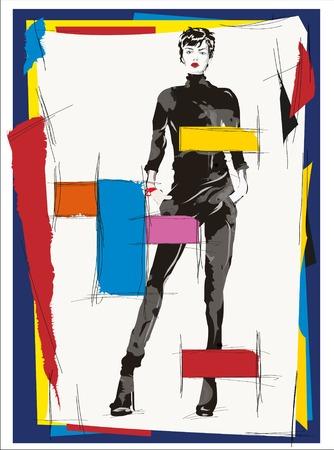 fashion girl cubism illustration modern