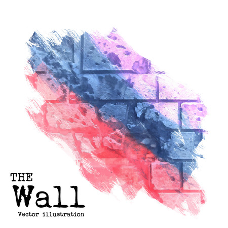 abstract background, brick wall painted with spots of different colors, vector illustration