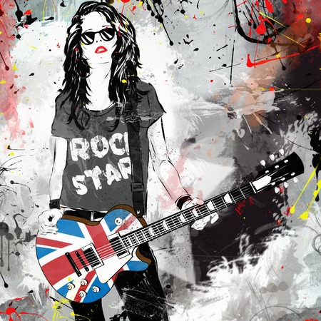 Fashionable woman with guitar. Rock star. Grunge illustration