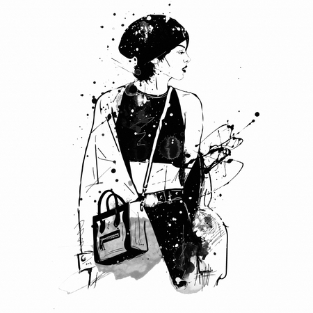 Fashion girl in sketch-style. Grunge illustration.