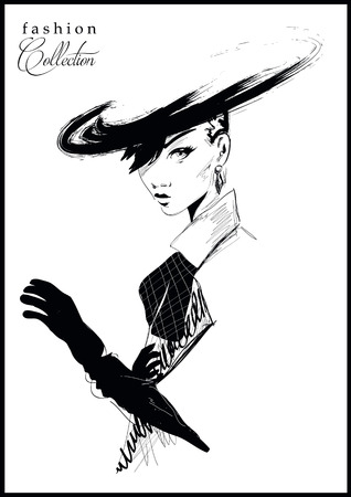 Ilustración de Fashion girl in sketch-style. - Imagen libre de derechos