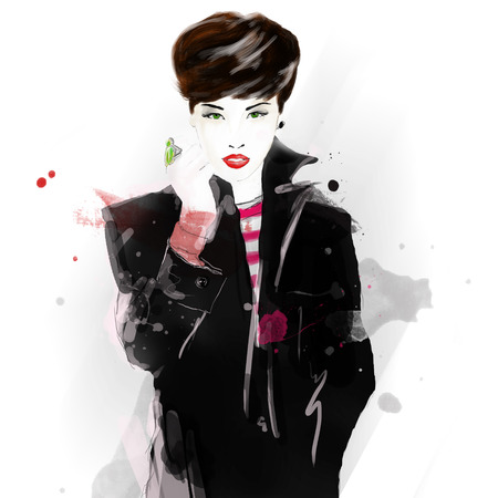 Fashion girl in sketch-style. Fashion illustration. Fashionable Amsterdam