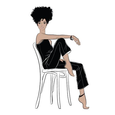 Ilustración de Sketch of a sitting fashionable woman. - Imagen libre de derechos
