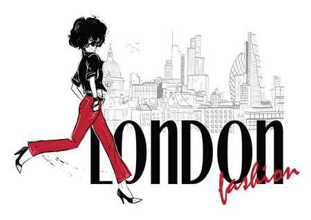 Fashion woman in sketch style in London. Vector illustration ...