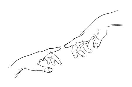 Illustration pour Sketch touching hands. Man and woman. Black and white. - image libre de droit