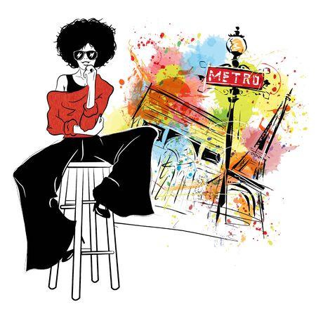 Photo pour Fashion girl in sketch style in Paris. - image libre de droit