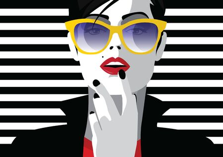 Illustration for Fashion woman in style pop art. Vector illustration - Royalty Free Image