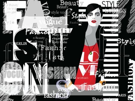 Illustration for Fashion woman in style pop art with typographics. Vector illustration - Royalty Free Image