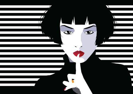 Illustration pour Asian fashion woman in style pop art. - image libre de droit