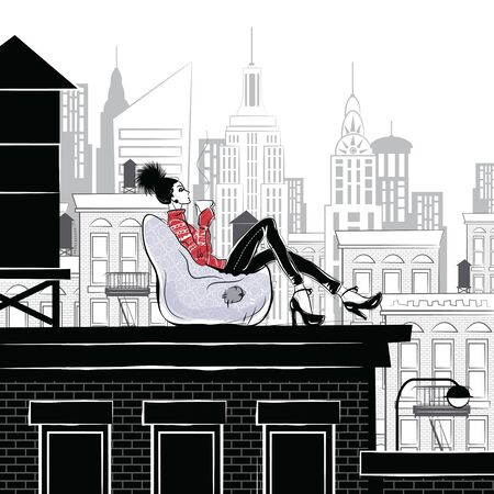 Illustration for Fashion girl in style sketch on the rooftop in New York - Royalty Free Image