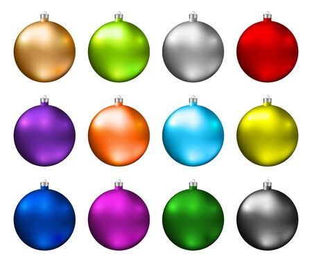 Illustration pour Colorful christmas baubles. Color spectrum of christmas balls isolated on white background. Photorealistic high quality vector. - image libre de droit