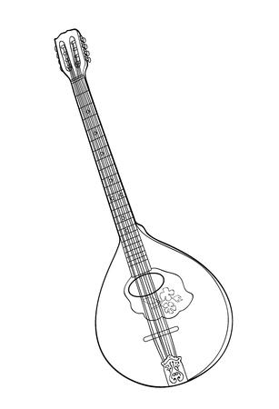 Monochrome Irish bouzouki in hand drawn tehnique. Vector illustration